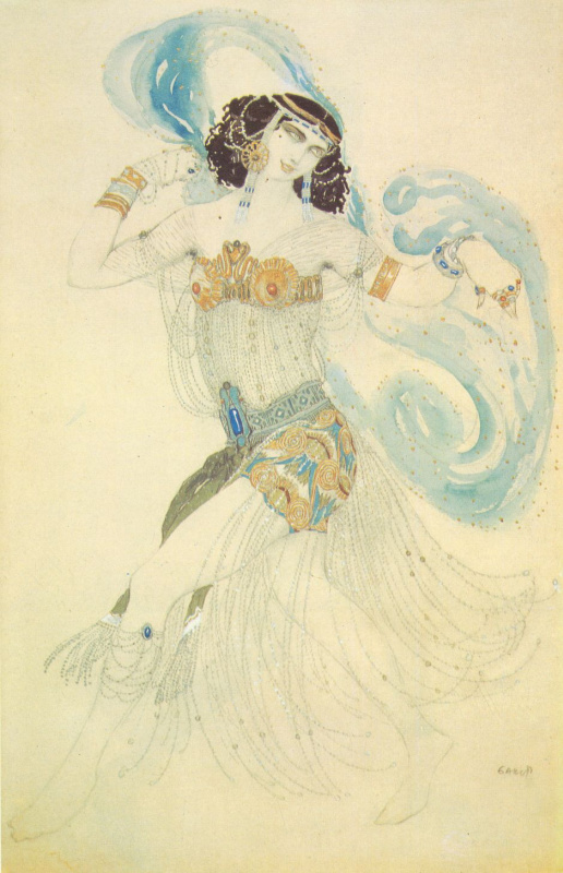 "Lev Samoilovich Bakst (Leon Bakst). The dance of the seven veils. Costume design of salomé to the drama of Oscar Wilde's ""Salome"""