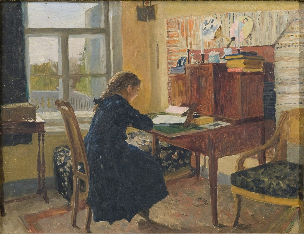 Александра Мамонтова за письменным столом. Абрамцево