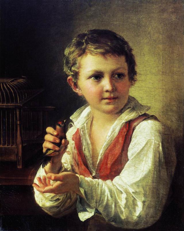 Василий Андреевич Тропинин. Мальчик со щегленком