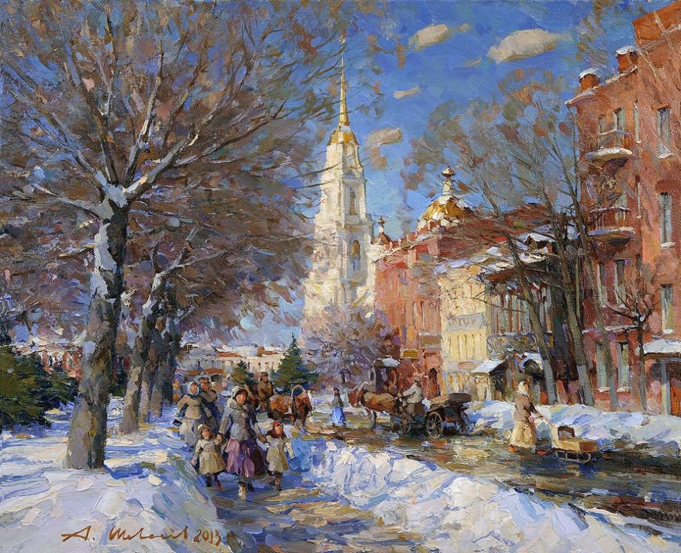 Alexander Shevelyov. Rybinsk.Kazanskaya street. Oil on canvas 48.2 x 58.8 cm. 2013