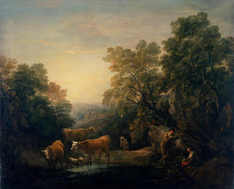 Томас Гейнсборо. Пейзаж с пасущимся стадом у водопоя и влюбленной парой