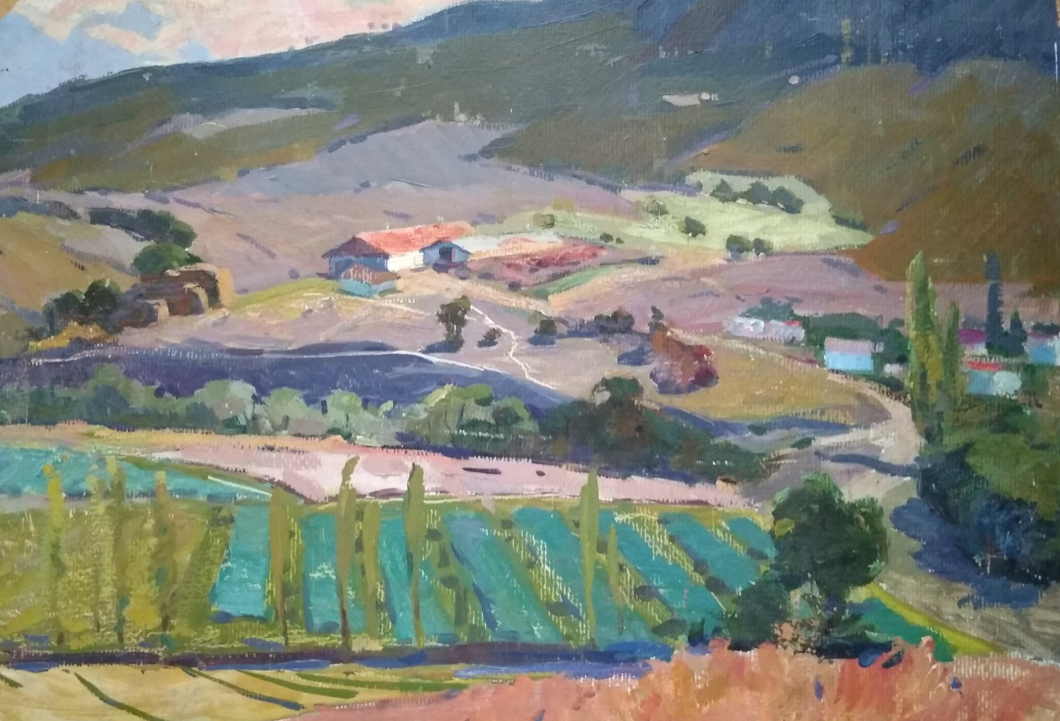 Unknown artist. Farm in the mountains
