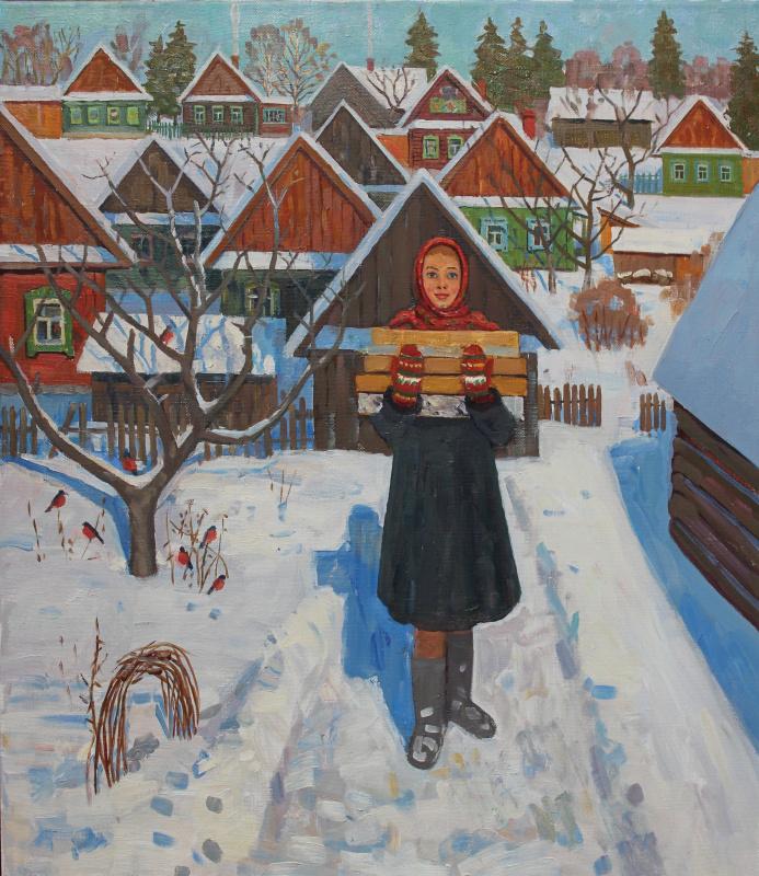 Евгений Александрович Казанцев. Морозное утро в деревне.