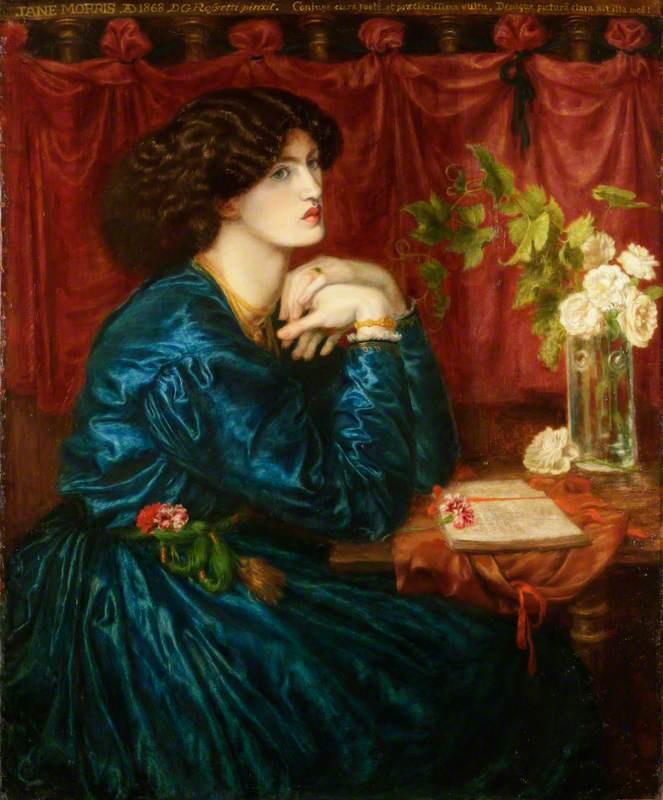 Данте Габриэль Россетти. Голубое шелковое платье. Портрет Джейн Моррис, миссис Уильям Моррис