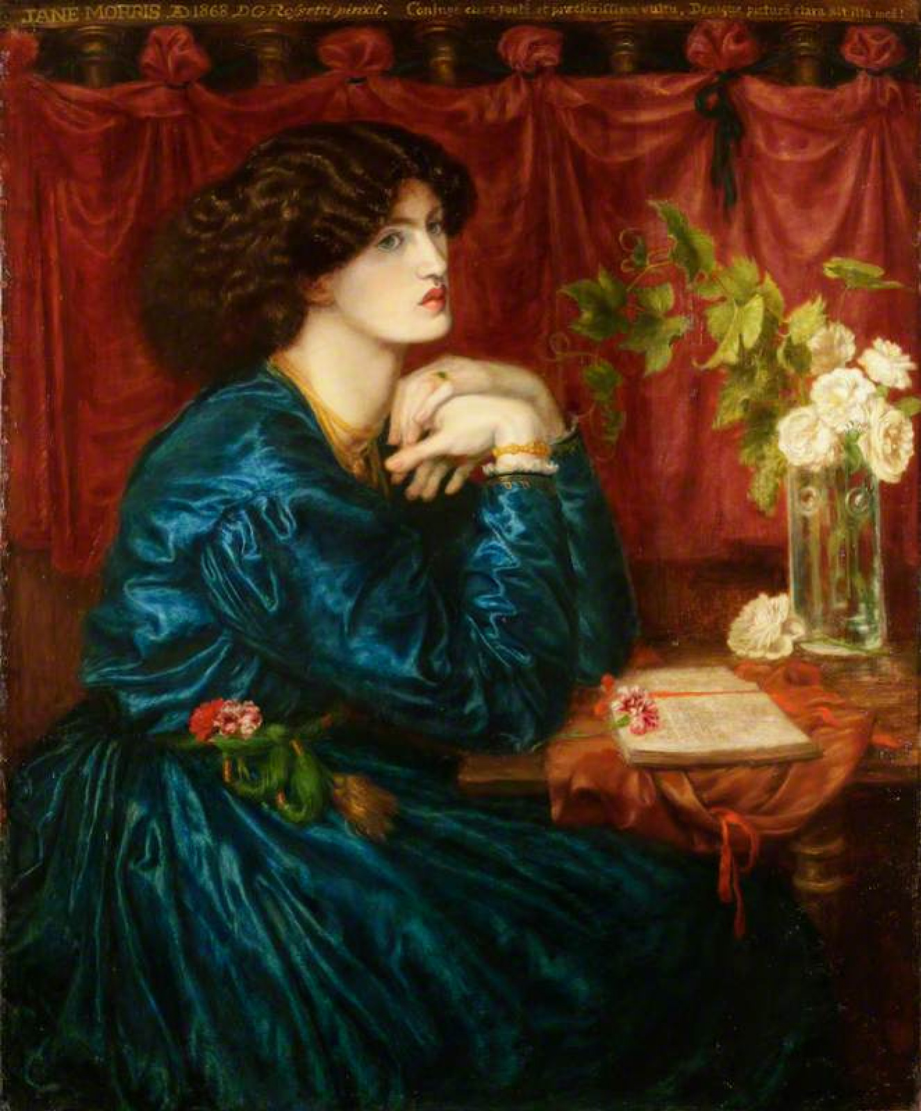 Dante Gabriel Rossetti.  Robe en soie bleue.  Portrait de Jane Morris, Mme William Morris