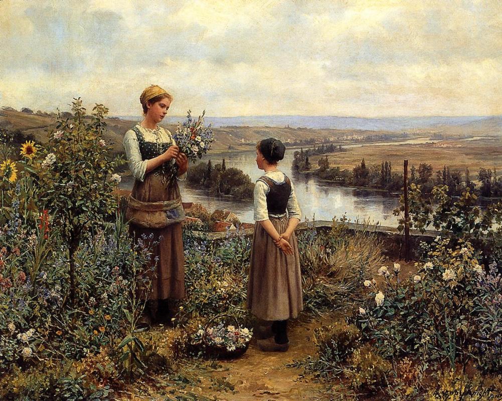 Daniel Ridgeway Knight. Flower girls