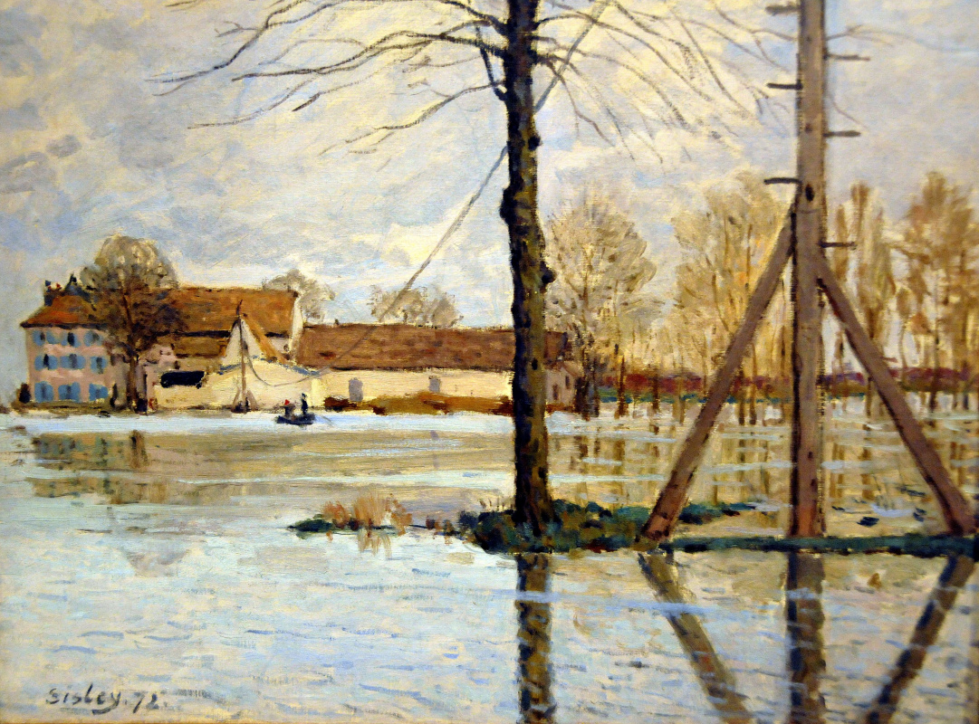 Alfred Sisley. Ile de la Loge. Flood
