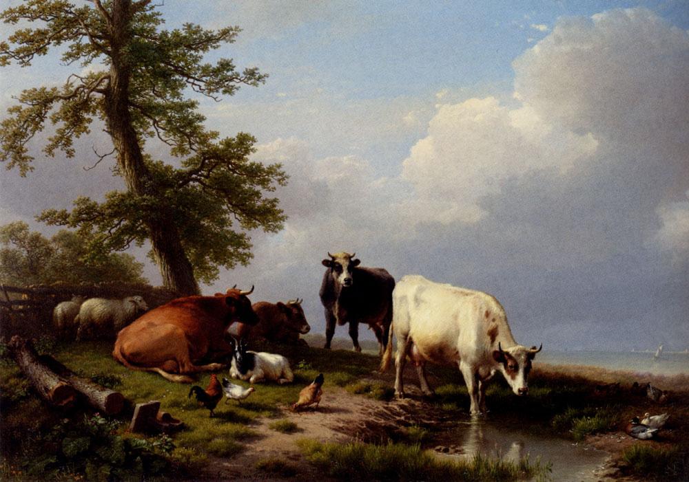 Evgenij Iosif Verbukkhoven. Animals graze on the sea shore