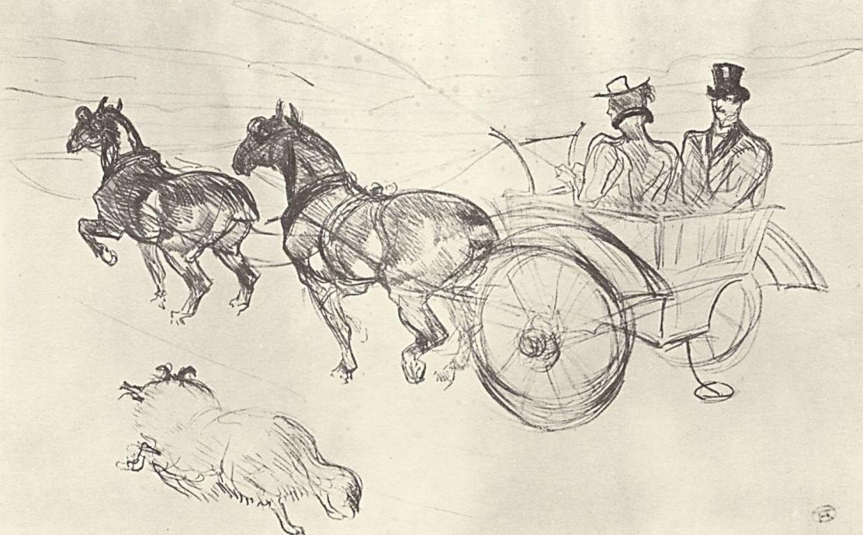 Анри де Тулуз-Лотрек. Кабриолет, запряженный двумя лошадьми цугом