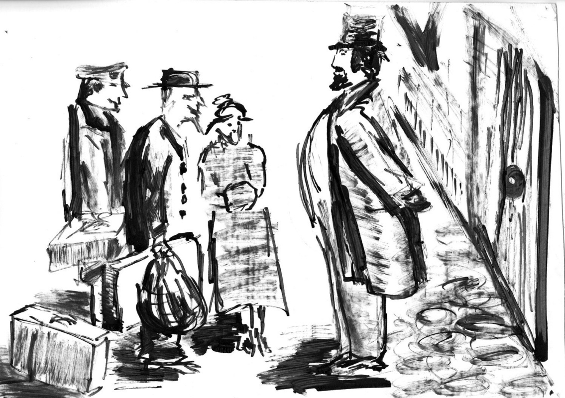 Vladimir Vasilyevich Abaimov. Thick and thin. Illustration for the story by A.P. Chekhov