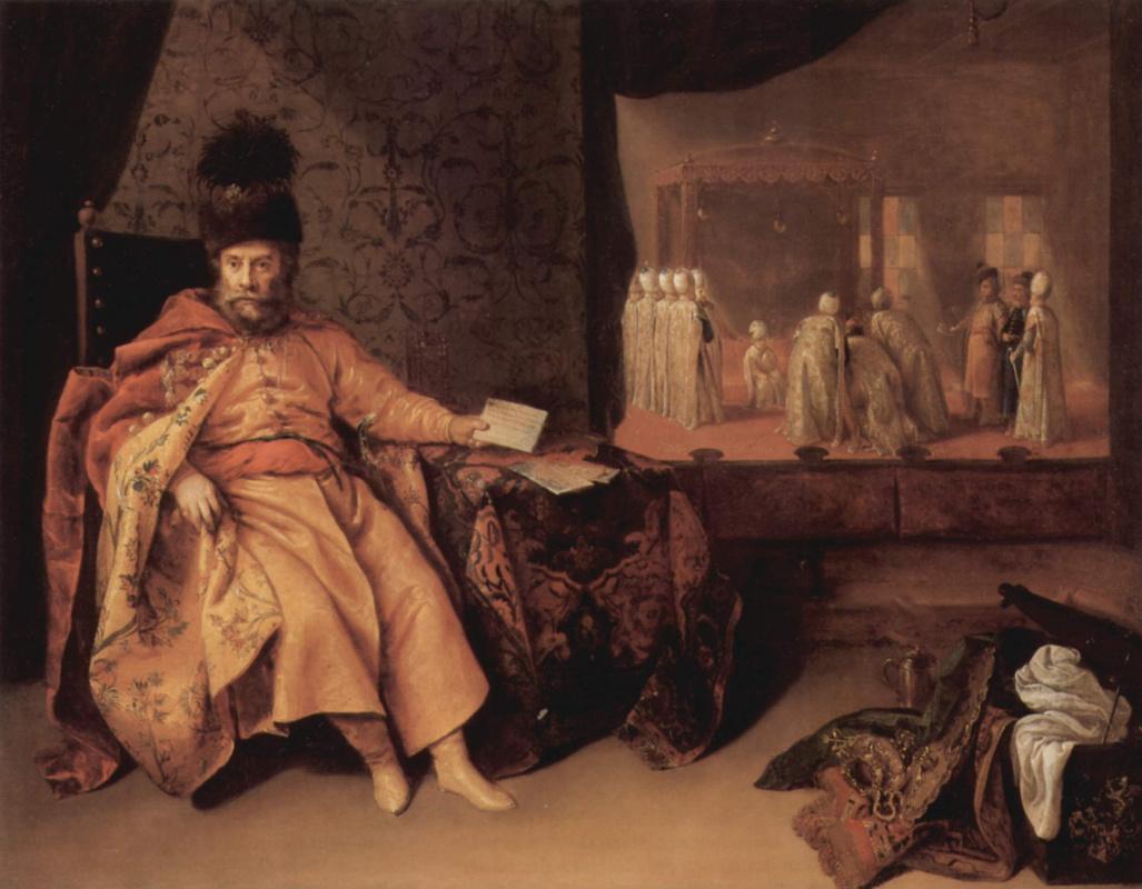 Иеронимус Йоахимс. Портрет Иоганна Рудольфа Шмида, барона фон Шварцемхорн, у султана в 1651 году