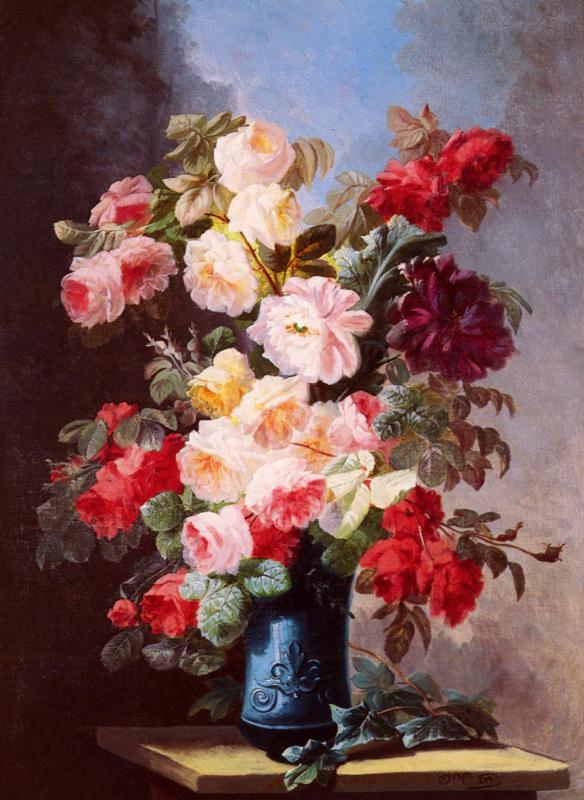 Натюрморт с розами и пионами в синей вазе