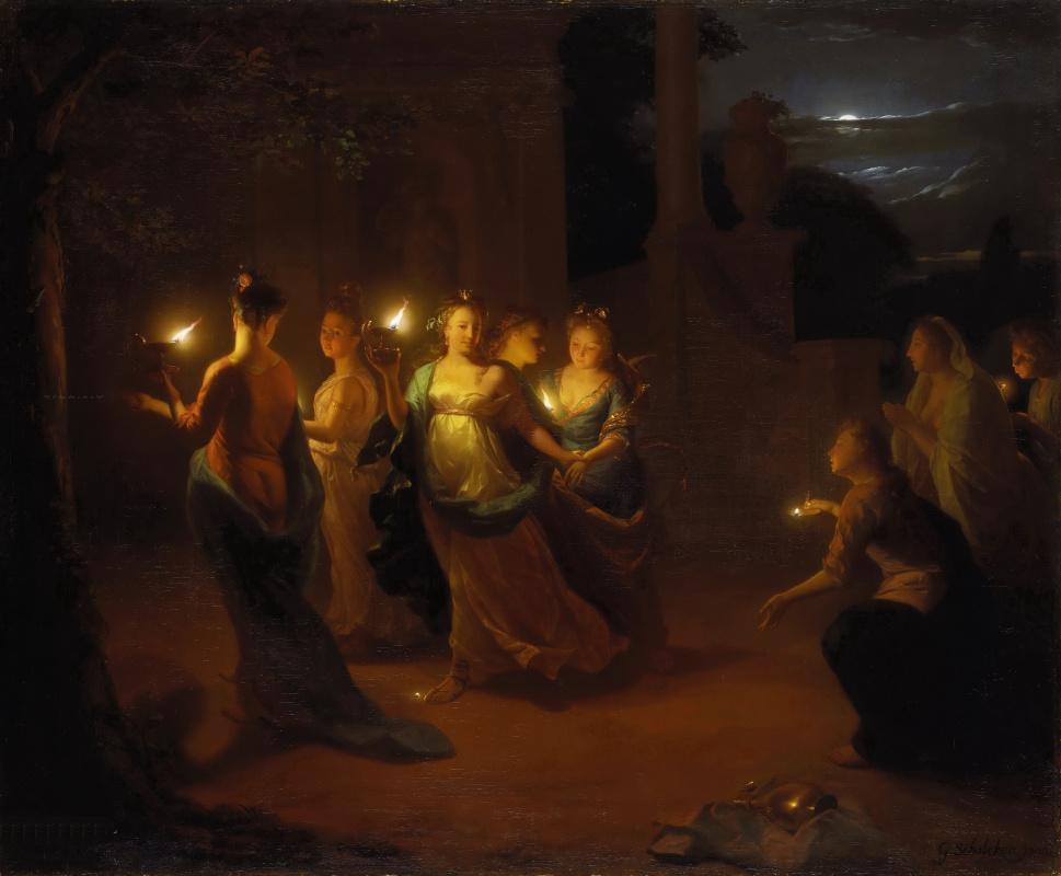 Годфрид Схалкен. Пять дев мудрых и пять неразумных