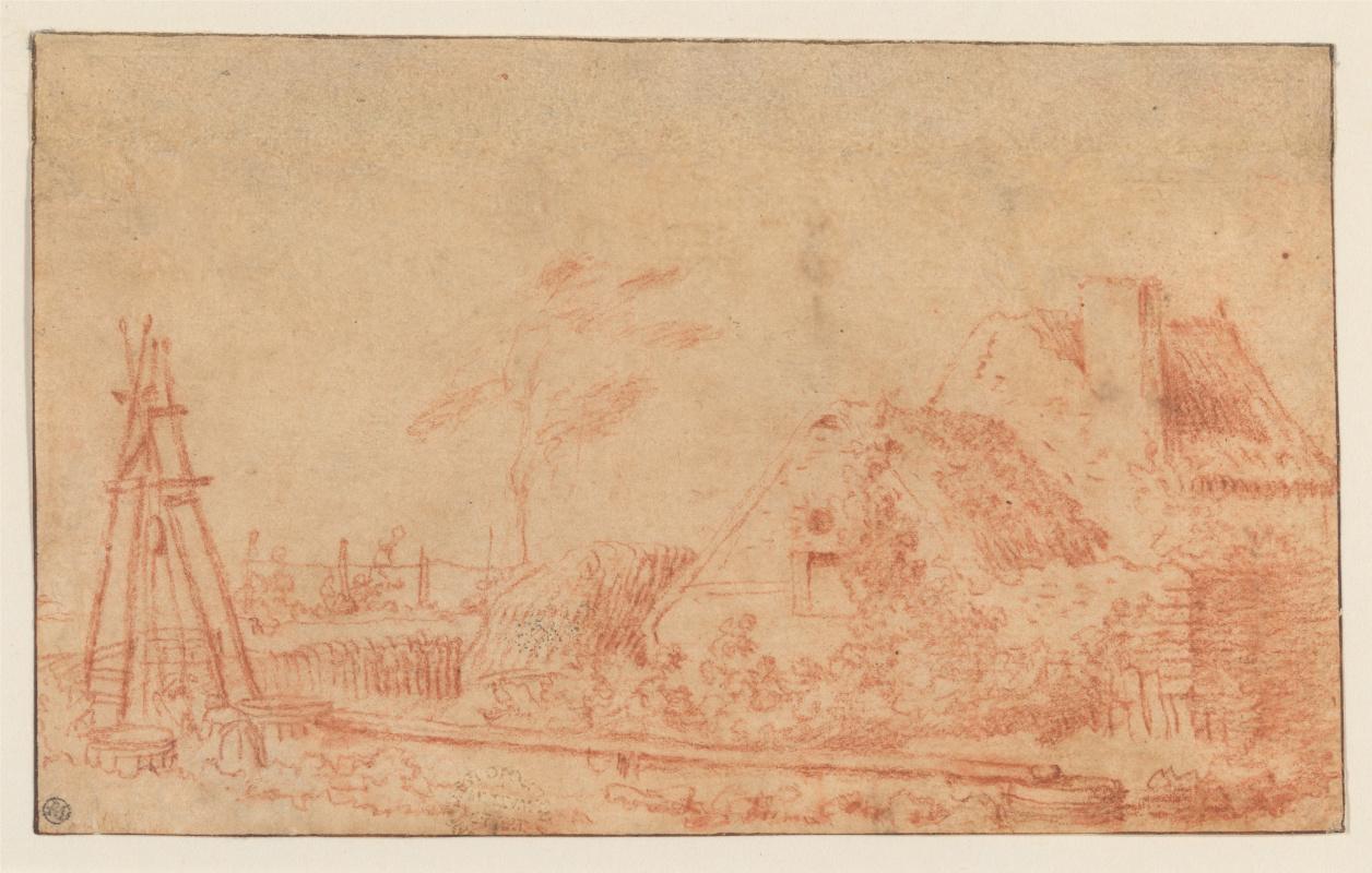 Антуан Ватто. Пейзаж с коттеджем и колодцем