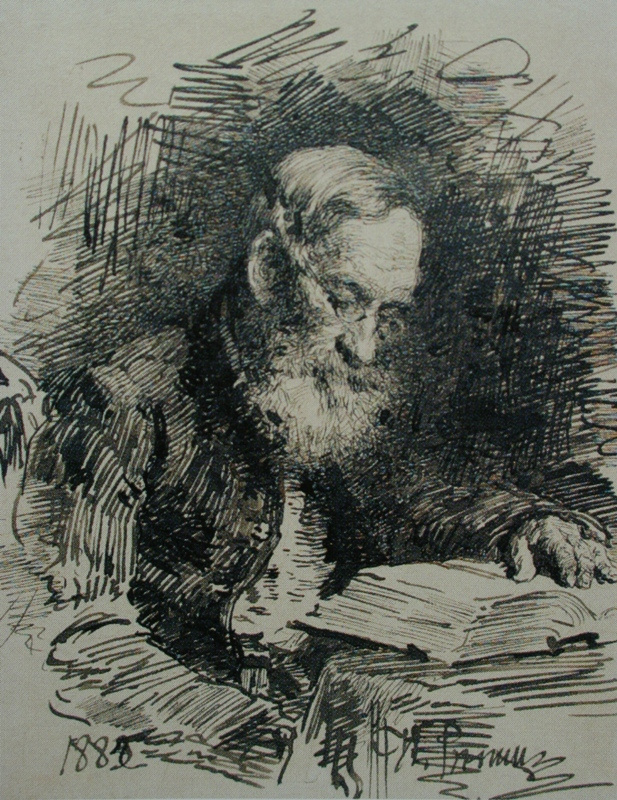 Ilya Efimovich Repin. Portrait of the artist's father with a book (from a pictorial original of 1879). Saratov State Art Museum.