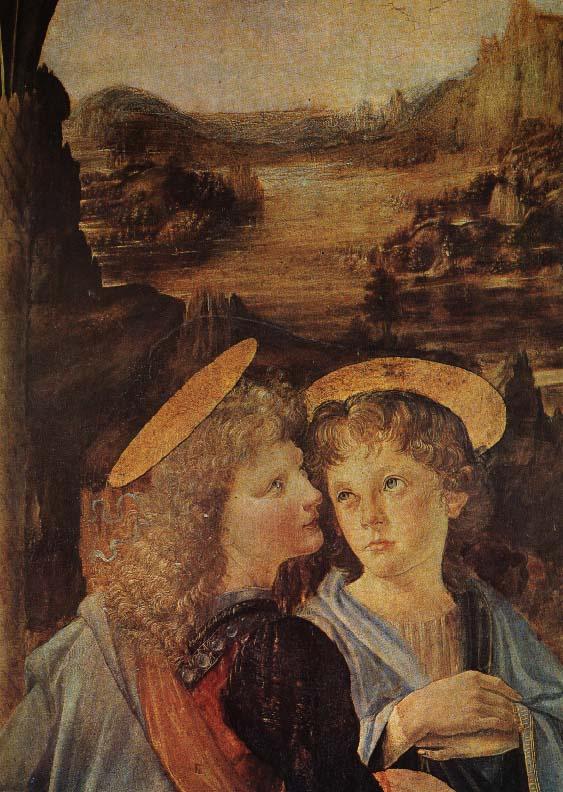 Леонардо да Винчи. Крещение Христа (фрагмент)