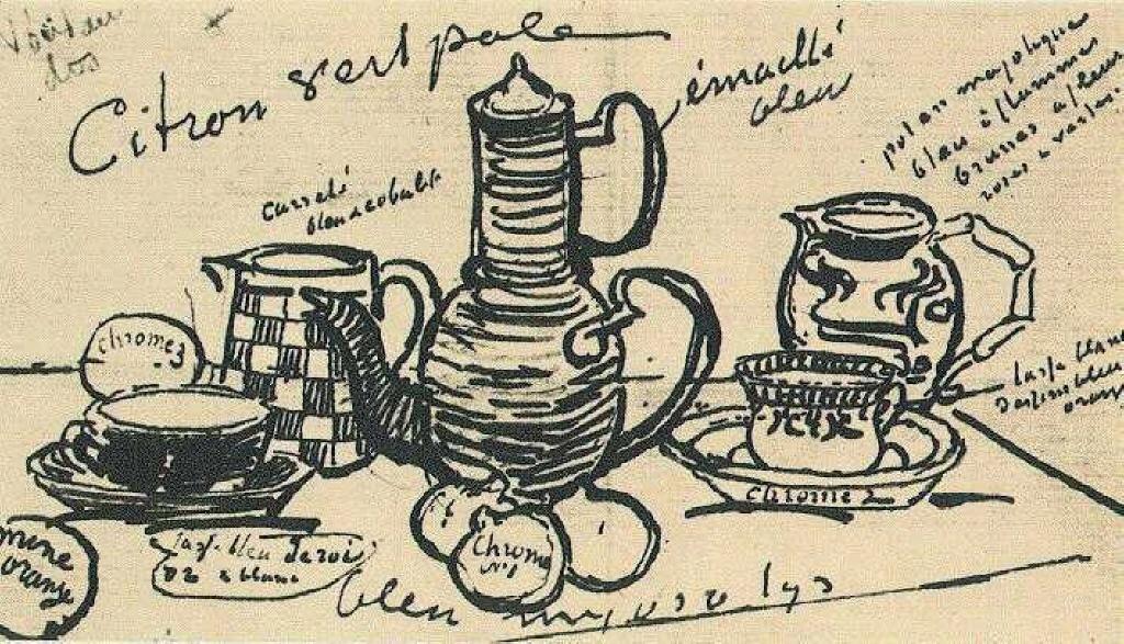 """Винсент Ван Гог. Набросок из письма Пьеру Боннару. Ван Гог рассказывает о работе над натюрмортом """"Кофейник, керамика и фрукты"""""""