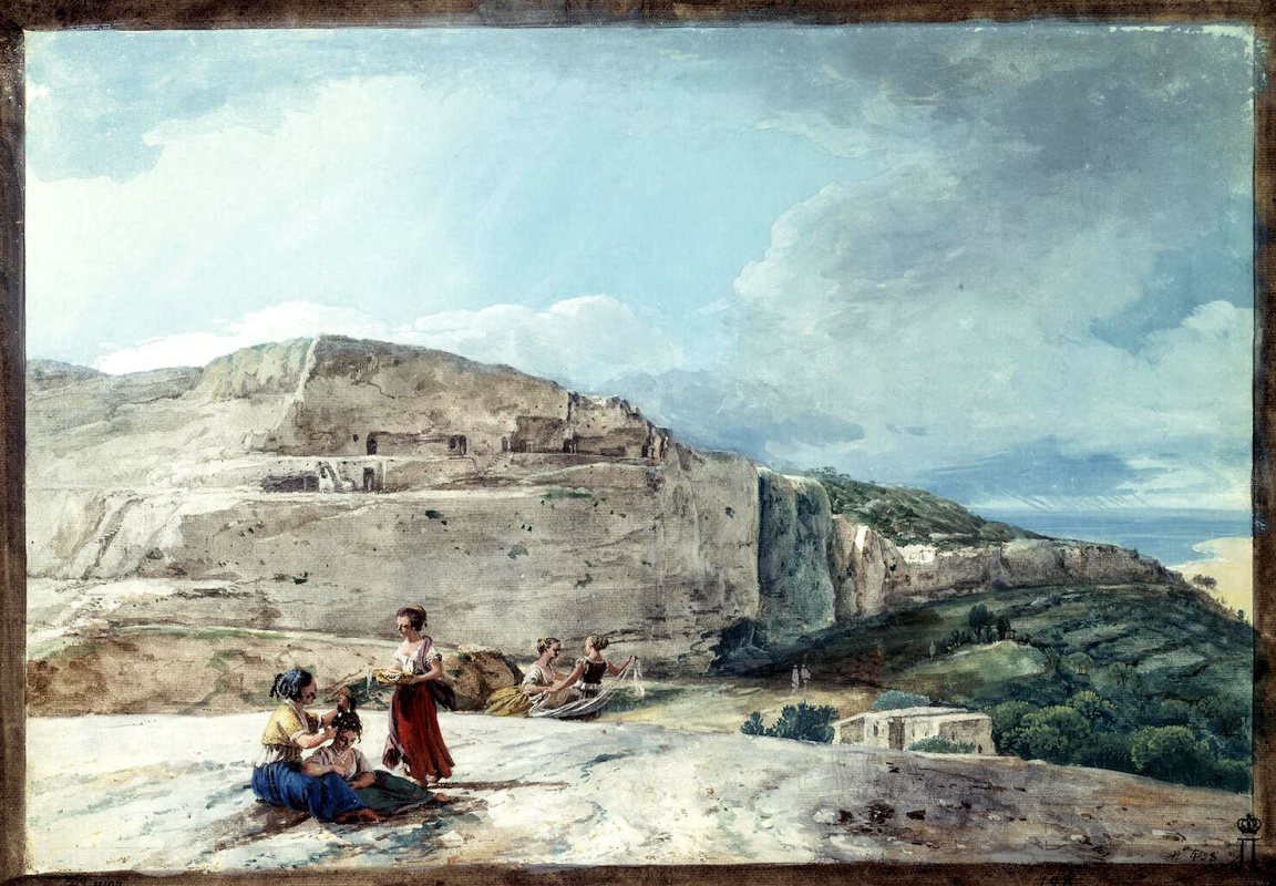 Жан-Пьер-Лоран Уэль. Вид утеса и древнего жилища на севере Мальты