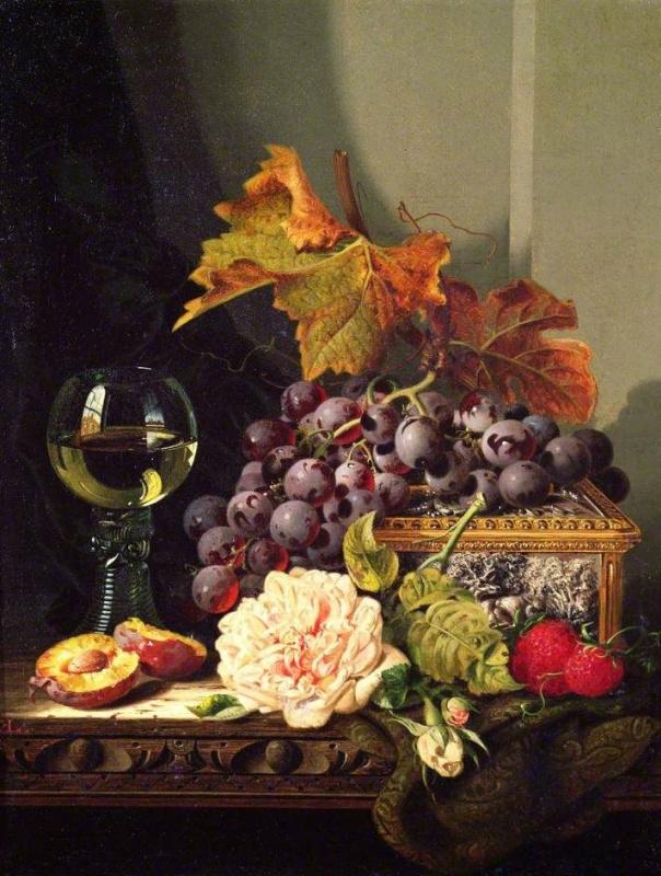 Эдвард Ладелл. Натюрморт с фруктами и розой