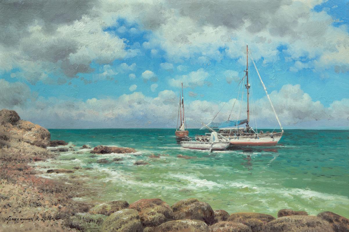Vasily Ivanovich Gribennikov. Yachts at the coast