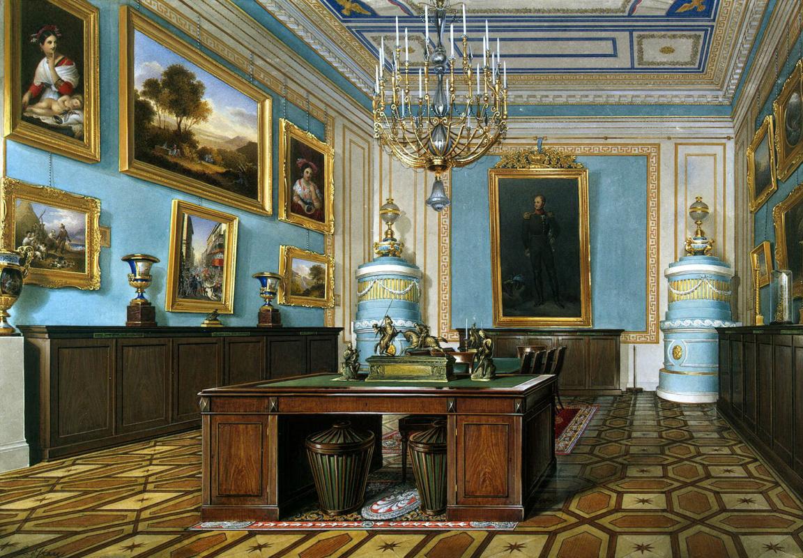 Эдуард Петрович Гау. Виды залов Зимнего дворца. Зал Совета императора Александра I