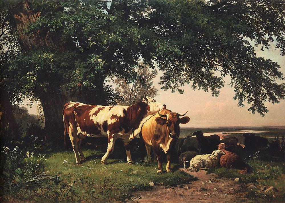 Ivan Shishkin. The herd under the trees