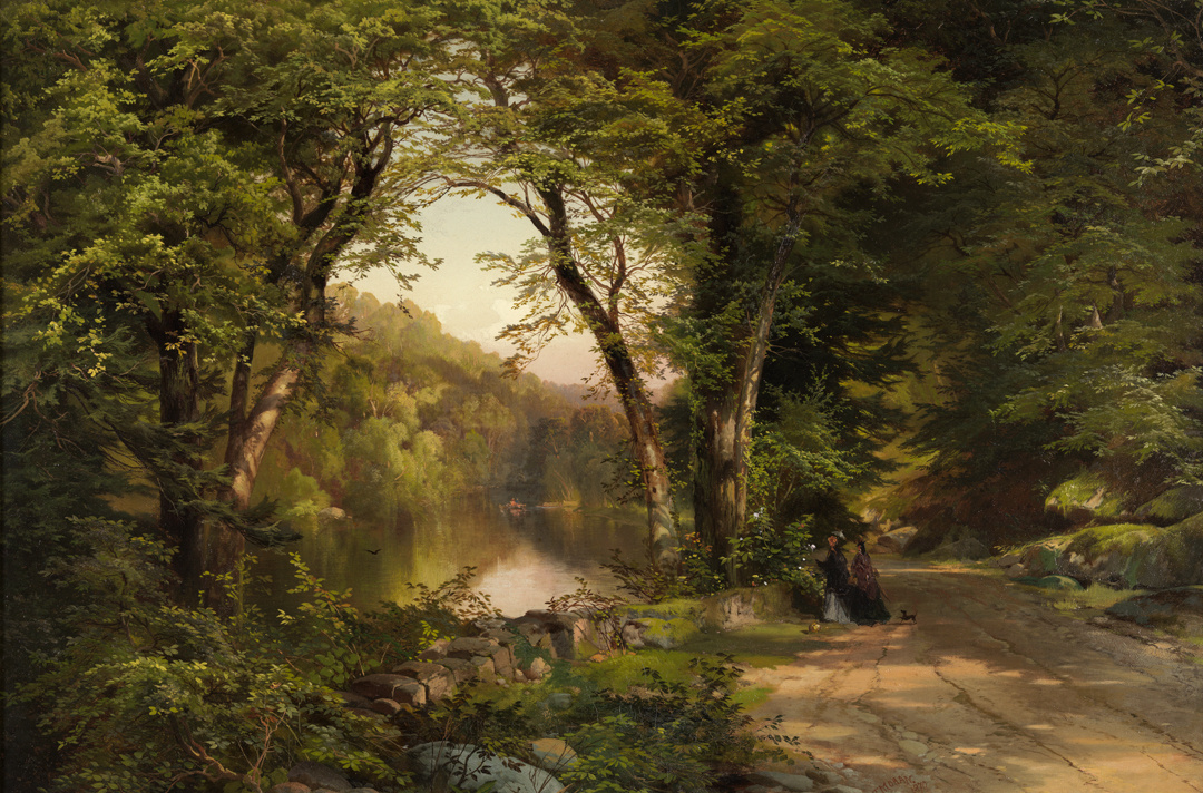 Thomas Moran. Two women in the forest