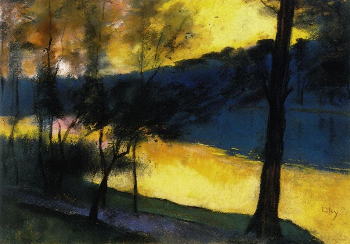 Lesser Ury. Landscape at sunset