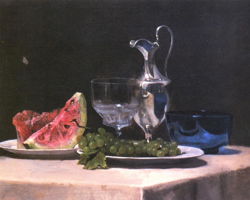 Джон Лафарг. Натюрморт с арбузом и виноградом