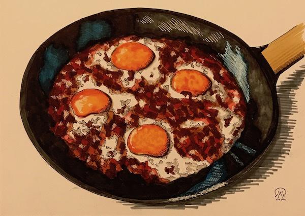 Larissa Lukaneva. Bacon and eggs. Sketch.