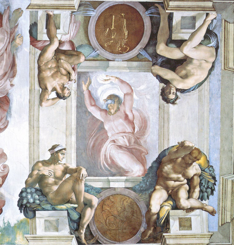 Michelangelo Buonarroti. God is the Creator and four boys. The frescoes of the Sistine chapel