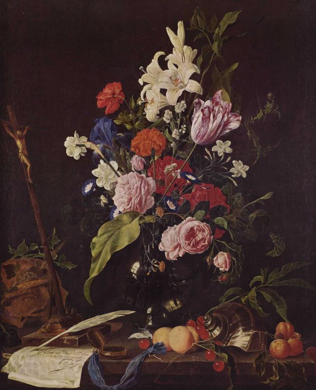 Цветы в стеклянной вазе, распятие и череп