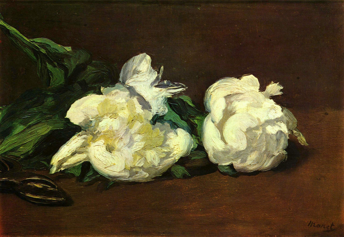 Edouard Manet. Cut white peonies and secateurs
