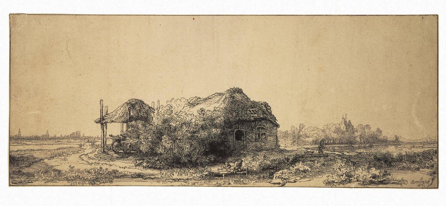 Рембрандт Харменс ван Рейн. Пейзаж с хижиной и амбаром