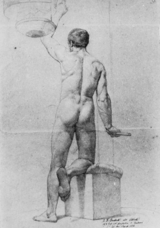 Иоганн Фридрих Овербек. Стоящий обнаженный натурщик, фигура со спины