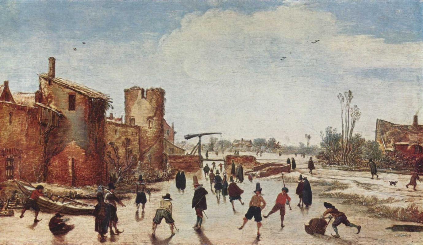 Эсайас ван де Вельде. Развлечения на льду замерзшего городского рва