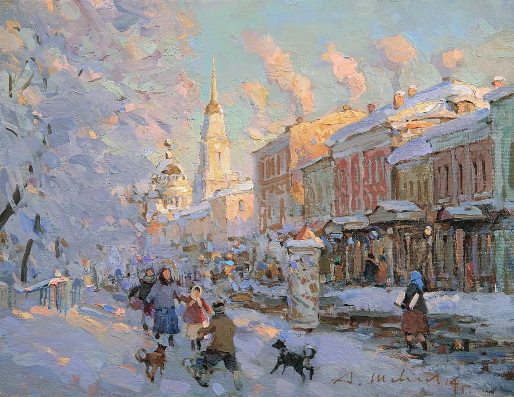 Alexander Victorovich Shevelyov. Winter evening in Rybinsk. Oil on canvas 29.5 x 37.5 cm. 2015