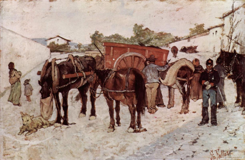 Джованни Фаттори. Солдаты и крестьяне на деревенской улице