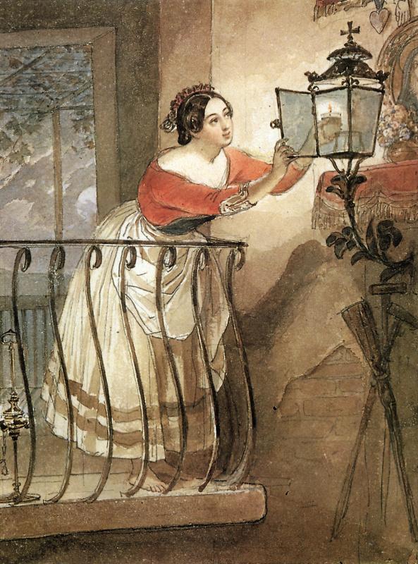 Итальянка, зажигающая лампаду перед образом мадонны