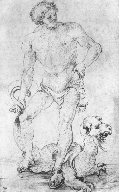Hans Souverain. A naked man with a dragon