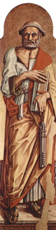 Карло Кривелли. Святой Петр. Алтарный полиптих церкви Сан Франческо в Монтефиоре дель Ассо, левая створка, внутренняя сторона