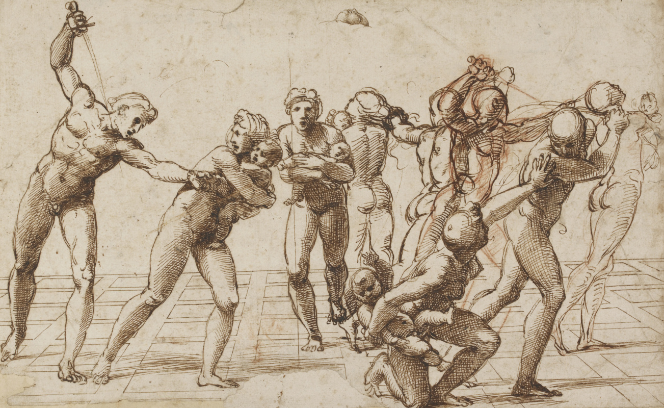 Raphael Sanzio. The massacre of the innocents. Sketch