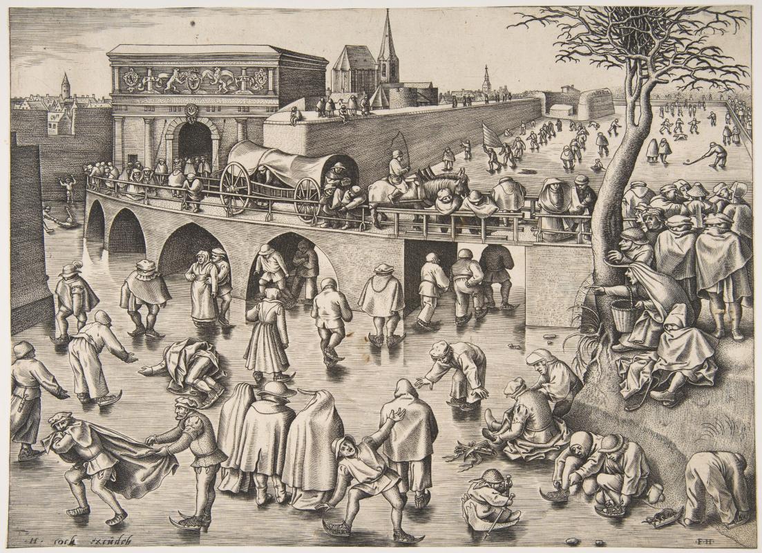 Франс Хьюс. Катание на коньках перед воротами Святого Георгия в Антверпене