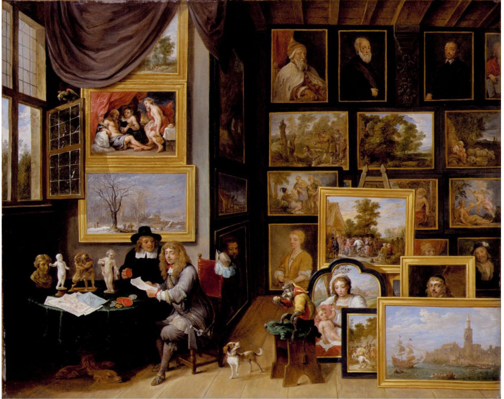 David Teniers the Younger. Picture gallery with a monkey and two gentlemen looking at the print and drawing in red chalk