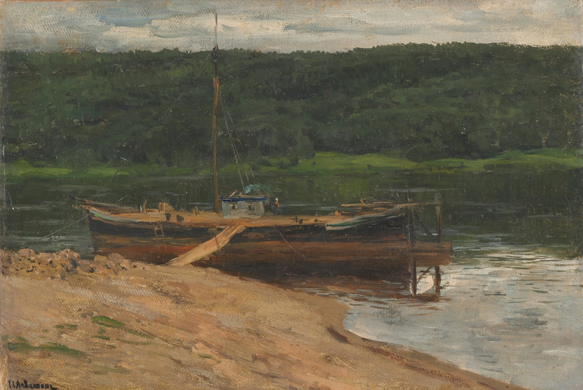 "Isaac Levitan. Grey day. The forest above the river. A sketch for the painting ""On the Volga"""