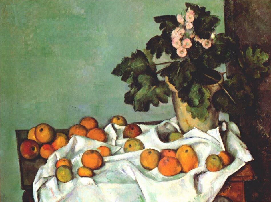Поль Сезанн. Натюрморт с кустом герани и фруктами