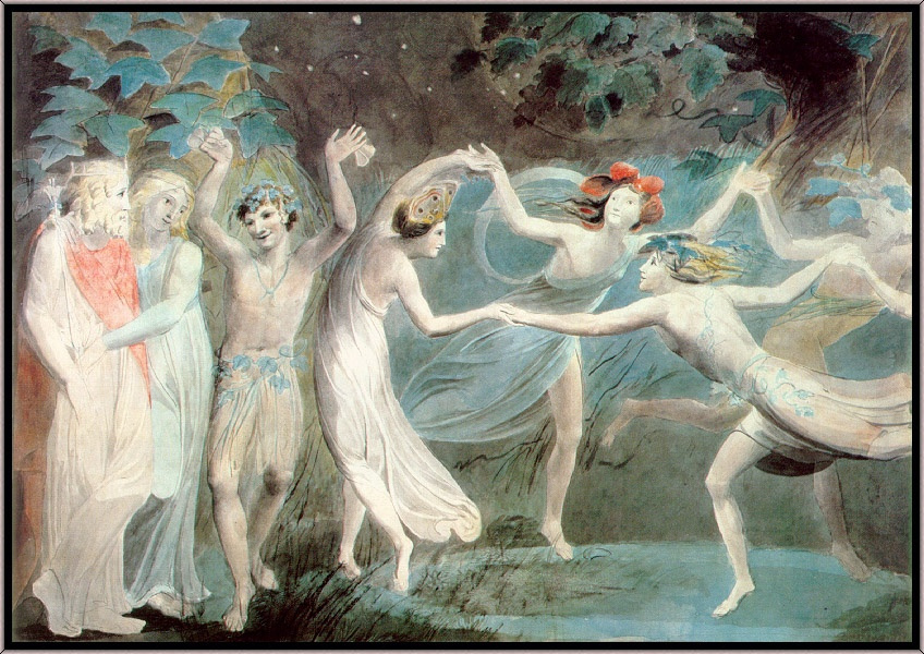 "Уильям Блейк. Оберон, Титания и Пак с танцующими феями (Шекспир, ""Сон в летнюю ночь)"