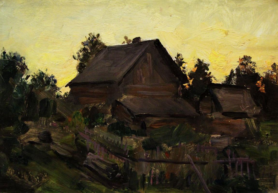 Vladimir Georgievich Gremitskykh. The house at sunset