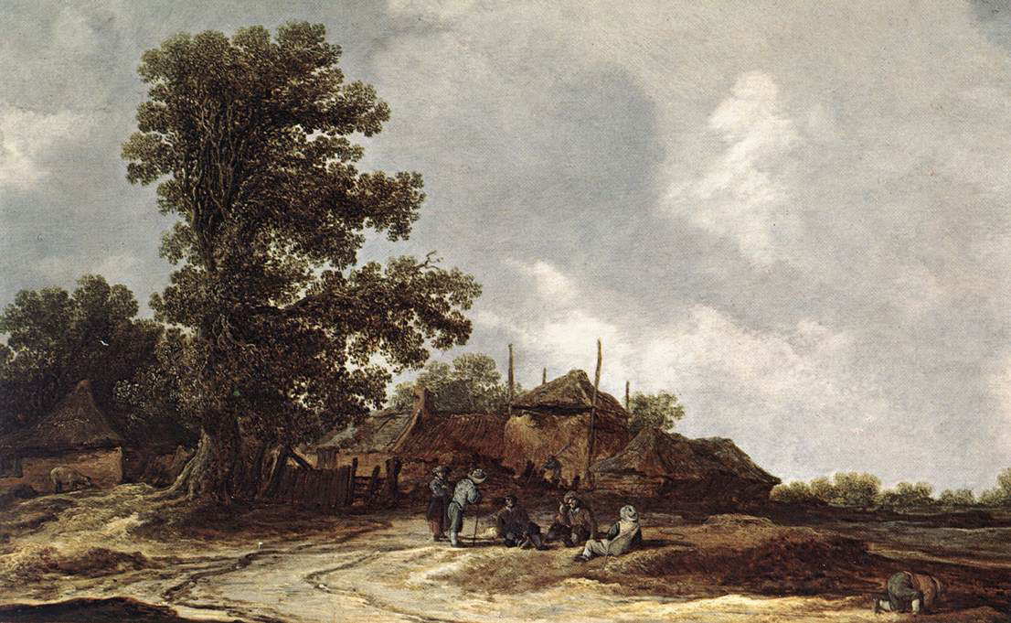 Jan van Goyen. Backyard farm with haystack