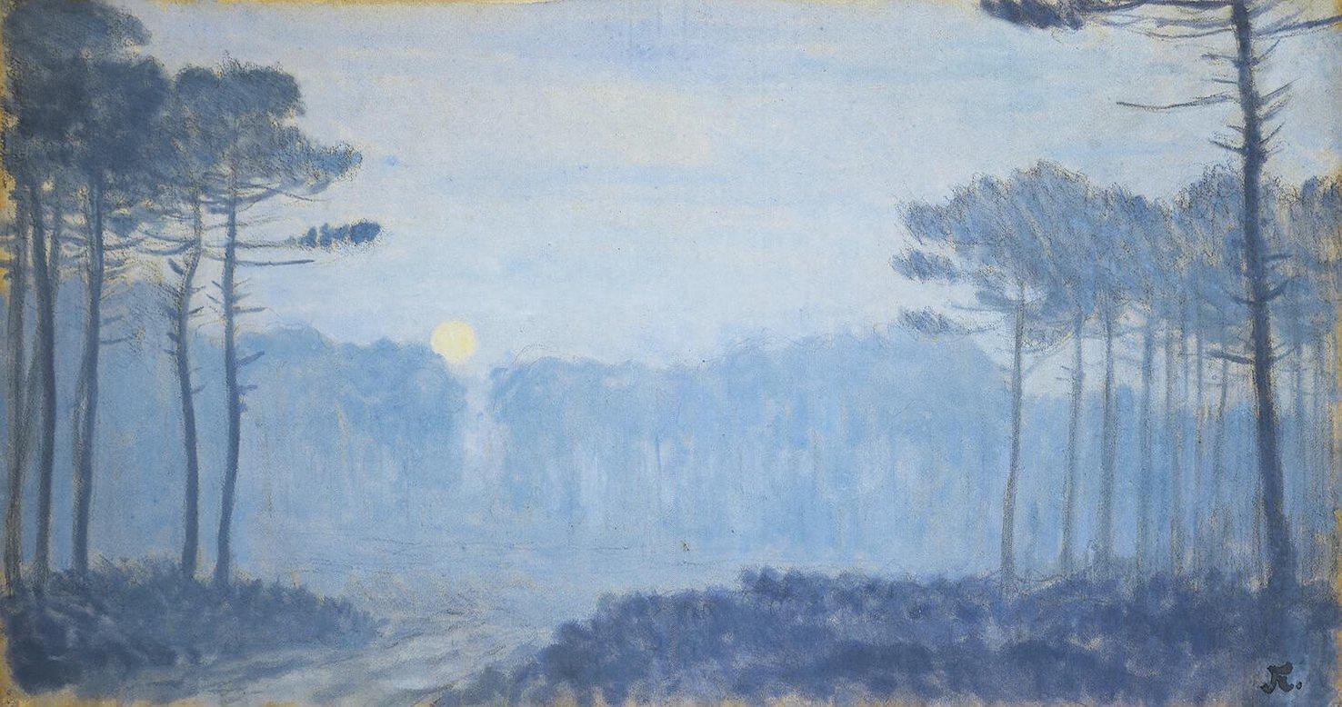 Жан-Франсис Обюртен. Пейзаж с соснами в лунную ночь